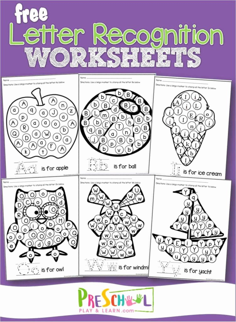 Free Letters Worksheets for Preschoolers Free Free Letter Recognition Worksheets A to Z