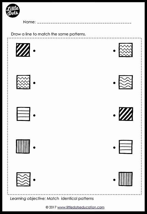 Free Matching Worksheets for Preschoolers Inspirational Free Patterns Matching Worksheet for Pre K or Kindergarten