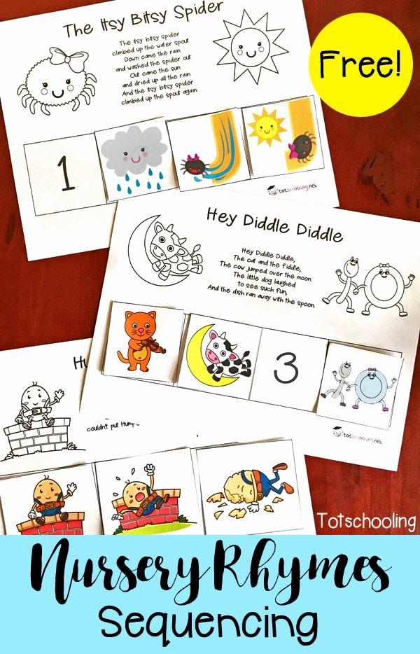 Free Nursery Rhymes Worksheets for Preschoolers Lovely Free Nursery Rhymes Sequencing Printables