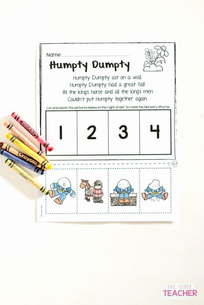 Free Nursery Rhymes Worksheets for Preschoolers New Teach Story Retelling with Nursery Rhymes – the Super Teacher