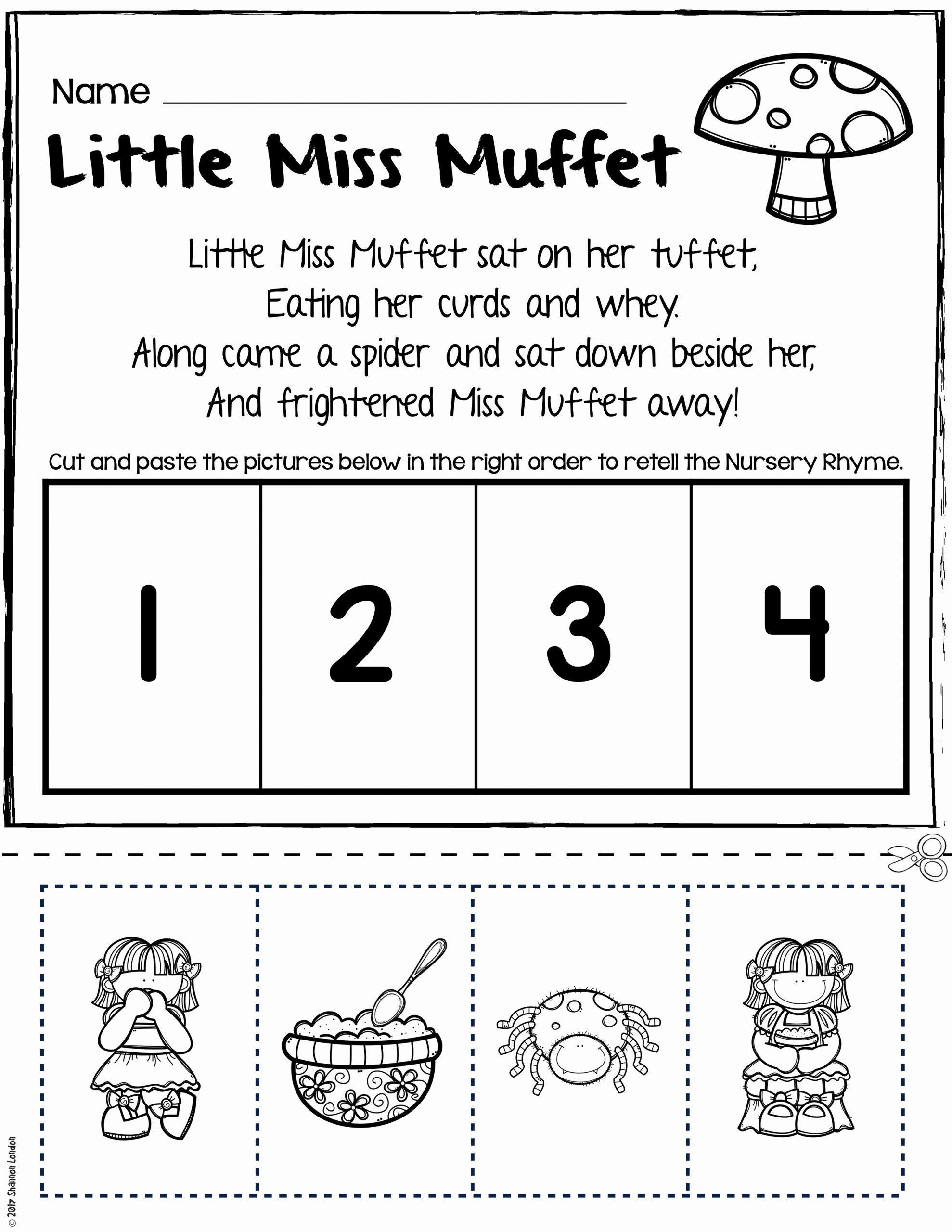 Free Nursery Rhymes Worksheets for Preschoolers Printable Nursery Rhymes Worksheets for Story Retelling Practice
