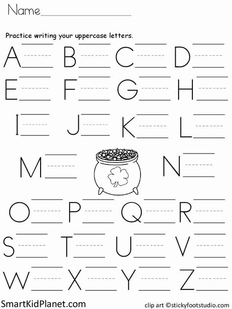 Free Print Worksheets for Preschoolers Free Free Print Practice Uppercase Letters St Patrick S Day
