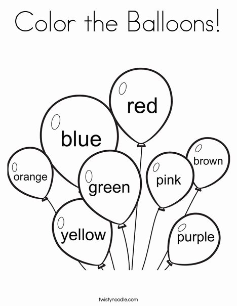 Free Printable Color Worksheets for Preschoolers Fresh Color the Balloons Coloring Page