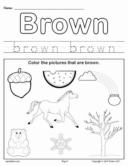 Free Printable Color Worksheets for Preschoolers Ideas Color Brown Worksheet