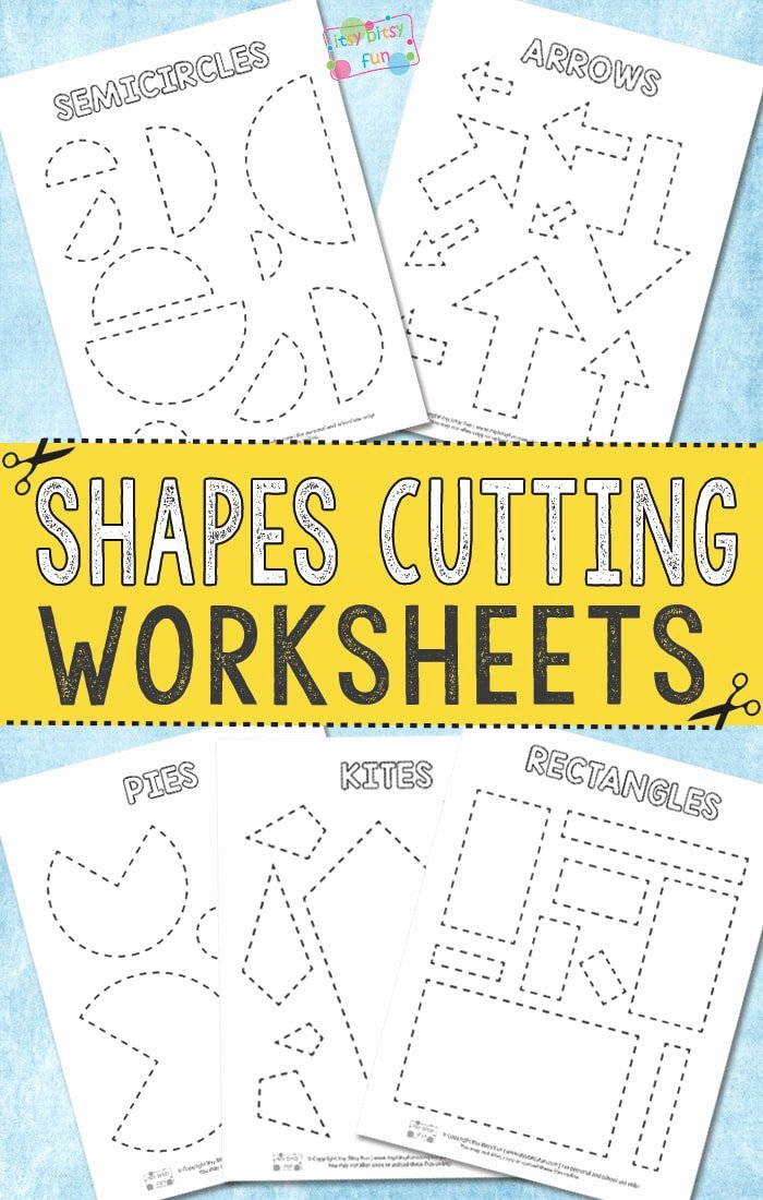 Free Printable Cutting Worksheets for Preschoolers Free Cutting Shapes Worksheets Itsybitsyfun