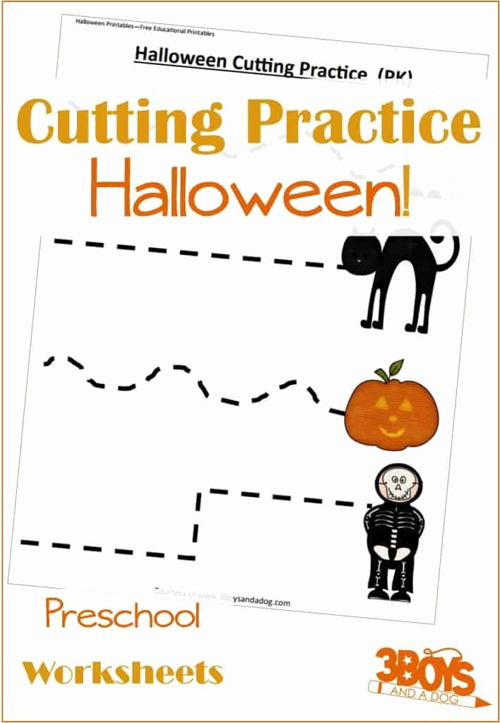 Free Printable Cutting Worksheets for Preschoolers Printable Halloween Cutting Activities
