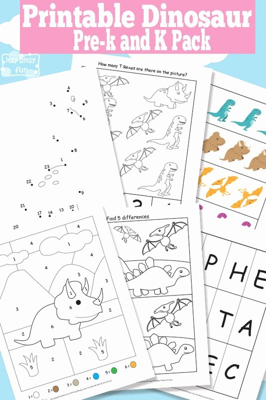 Free Printable Dinosaur Worksheets for Preschoolers Kids Dinosaur Printable Preschool and Kindergarten Pack