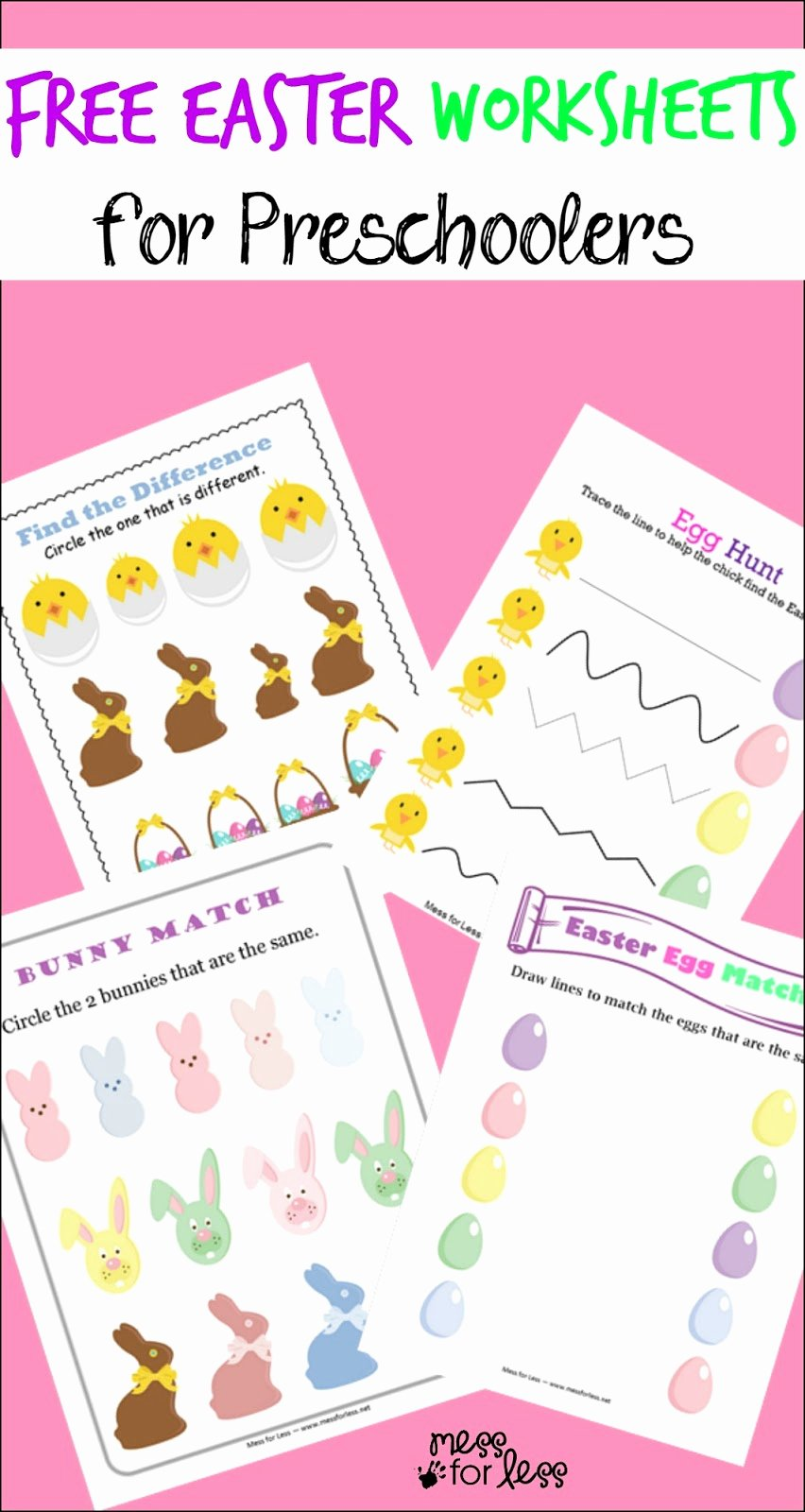 Free Printable Easter Worksheets for Preschoolers Ideas Free Easter Preschool Worksheets Mess for Less