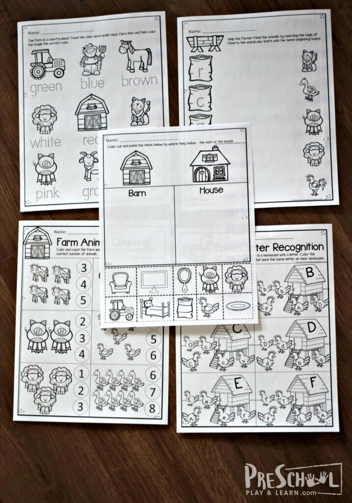 Free Printable Farm Worksheets for Preschoolers Printable Free Farm Worksheets for Preschoolers