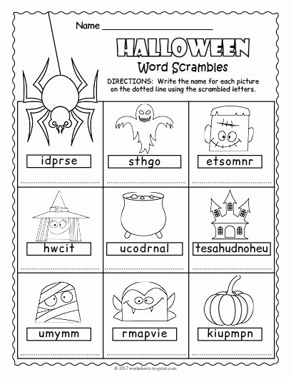 Free Printable Halloween Worksheets for Preschoolers New Free Printable Halloween Word Scramble Words Worksheets Math