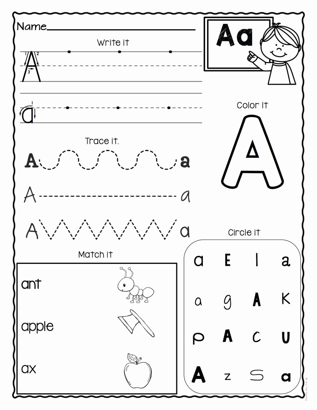 Free Printable Letter A Worksheets for Preschoolers Kids Worksheet Preschool Letter Worksheets Free Printable