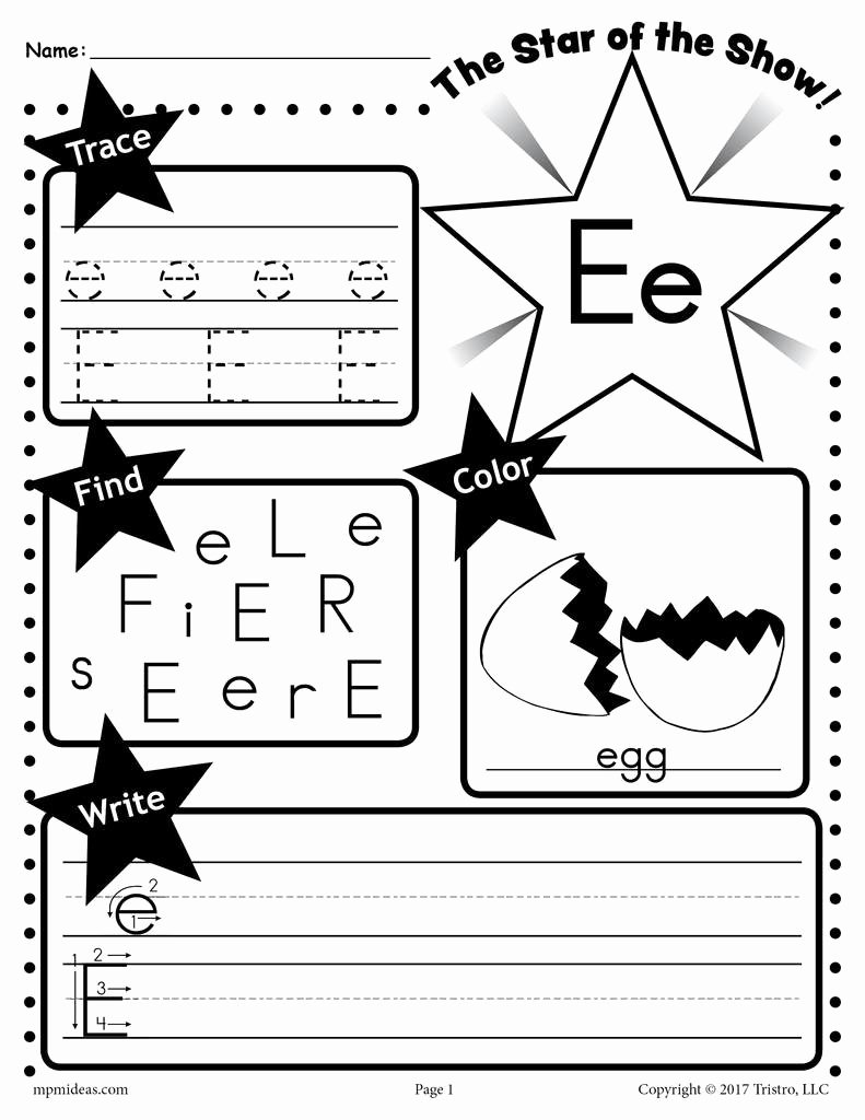 Free Printable Letter E Worksheets for Preschoolers Ideas Printable Coloring