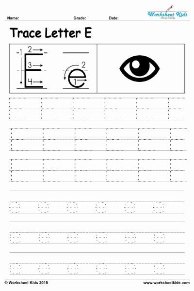Free Printable Letter E Worksheets for Preschoolers Kids Letter E Alphabet Tracing Worksheets Free Printable Pdf