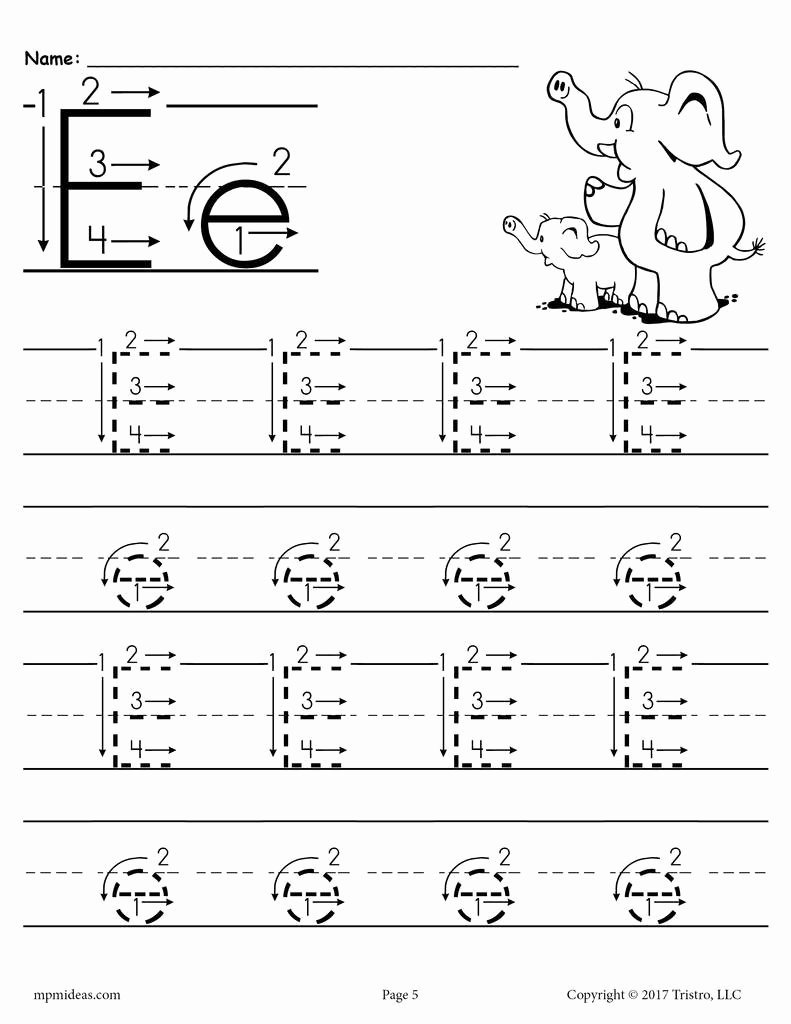 Free Printable Letter E Worksheets for Preschoolers New Printable Letter E Tracing Worksheet with Number and Arrow Guides