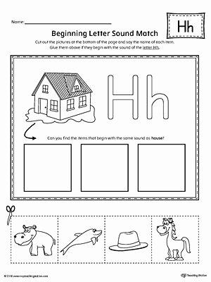 Free Printable Letter H Worksheets for Preschoolers Free Letter H Beginning sound Picture Match Worksheet