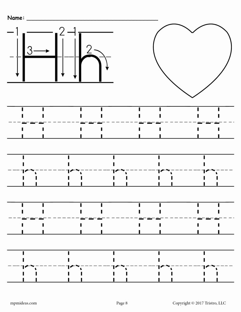 Free Printable Letter H Worksheets for Preschoolers New Printable Letter H Tracing Worksheet