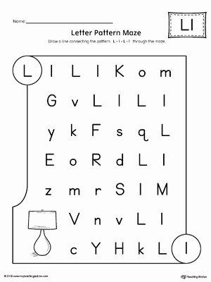 Free Printable Letter L Worksheets for Preschoolers Ideas Letter L Pattern Maze Worksheet
