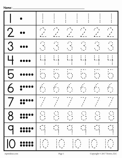 Free Printable Number Tracing Worksheets for Preschoolers Printable Free Printable Tracing Worksheet Numbers 1 10