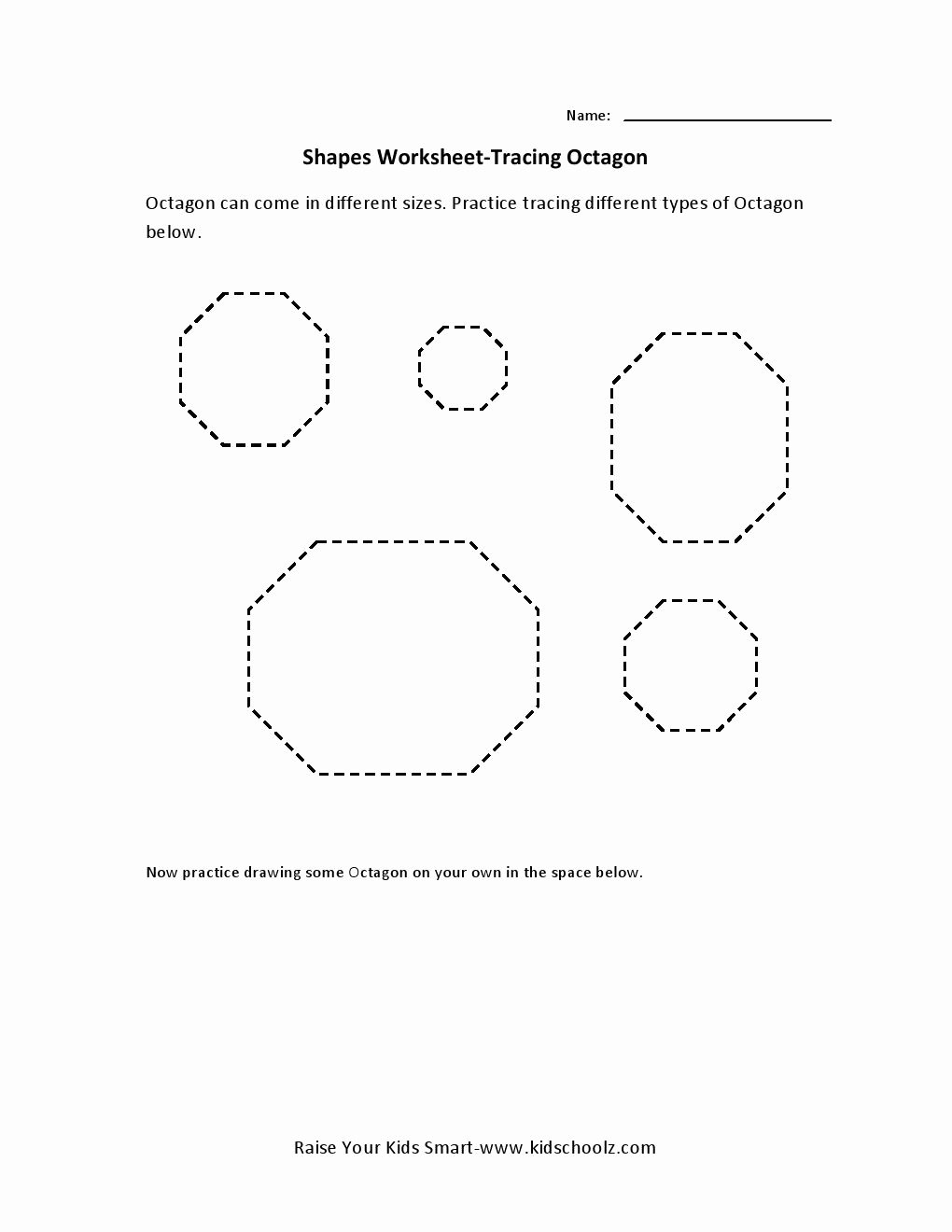 Free Printable Octagon Worksheets for Preschoolers Free Tracing Worksheets – Octagon