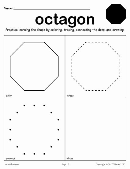 Free Printable Octagon Worksheets for Preschoolers Inspirational 12 Shapes Worksheets Color Trace Connect & Draw