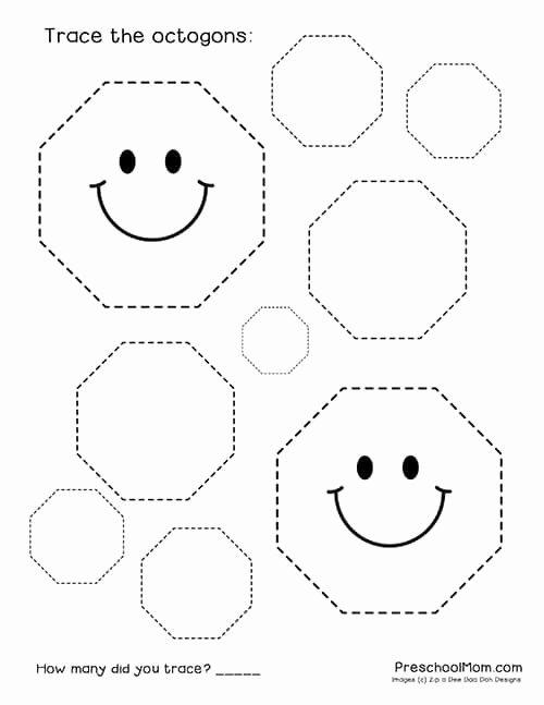 Free Printable Octagon Worksheets for Preschoolers Kids Shape Tracing Worksheets Preschool Mom