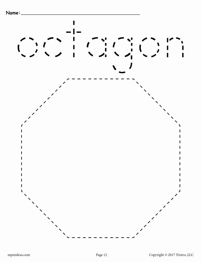 Free Printable Octagon Worksheets for Preschoolers Lovely Octagon Tracing Worksheet