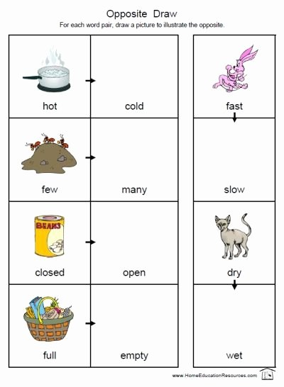 Free Printable Opposites Worksheets for Preschoolers Best Of Oppositesworksheets3 400 —546 Pixels
