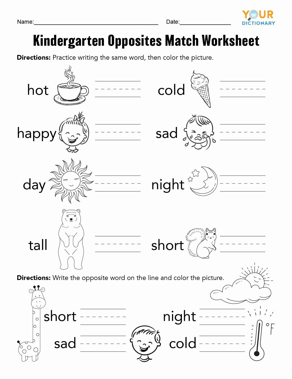 Free Printable Opposites Worksheets for Preschoolers Fresh Kindergarten Opposites Worksheet Remarkable Learning Sheets