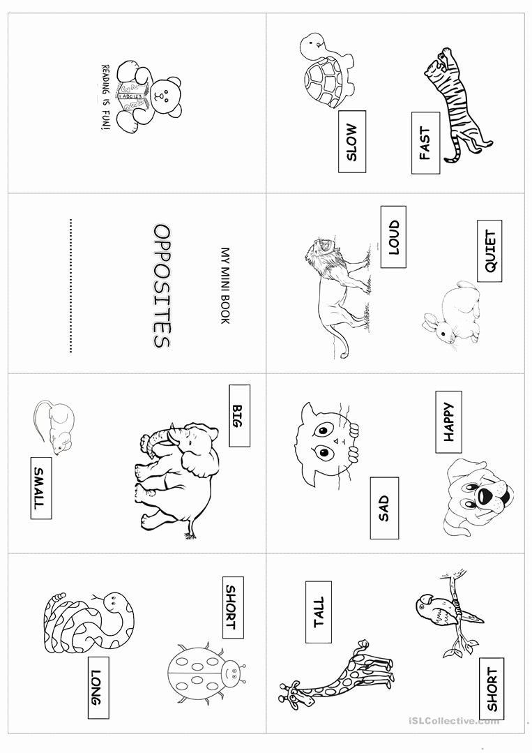Free Printable Opposites Worksheets for Preschoolers Lovely Mini Book Opposites English Esl Worksheets for Distance