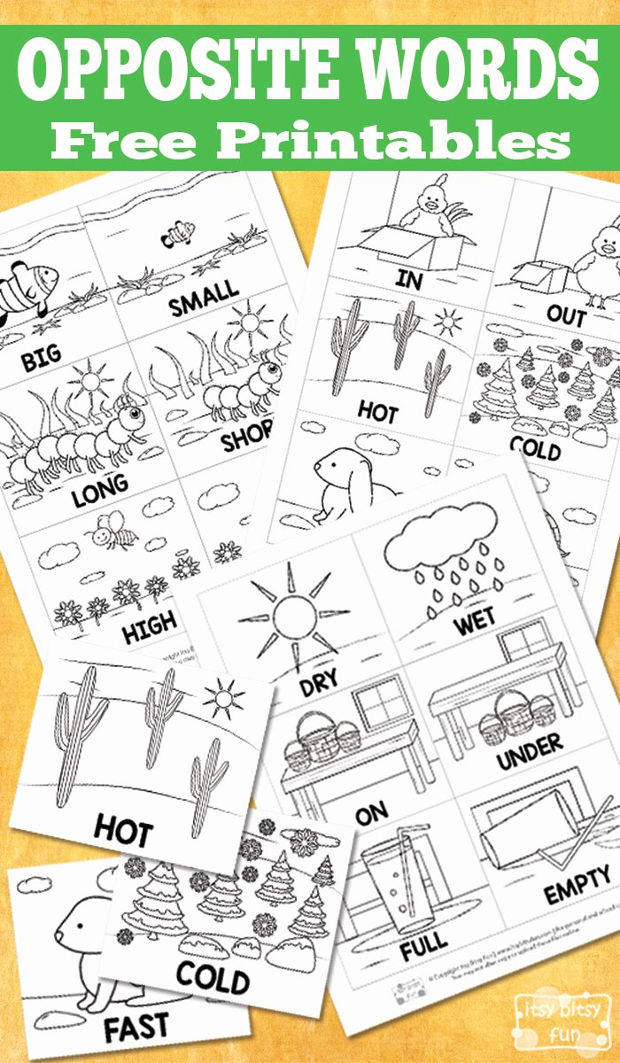 Free Printable Opposites Worksheets for Preschoolers Printable Free Opposite Words Printables Itsybitsyfun