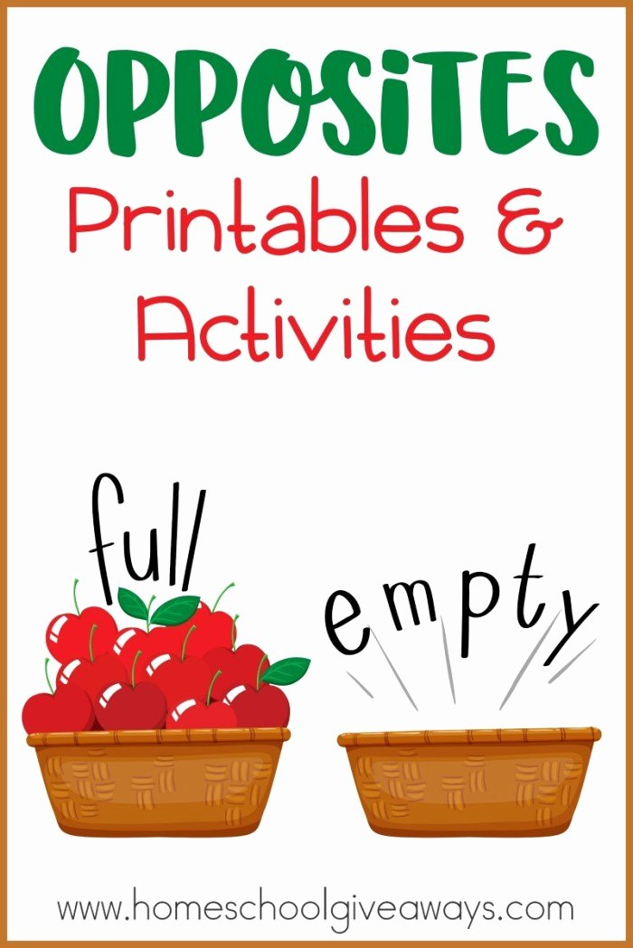 Free Printable Opposites Worksheets for Preschoolers Printable Opposites Printables and Activities Homeschool Giveaways