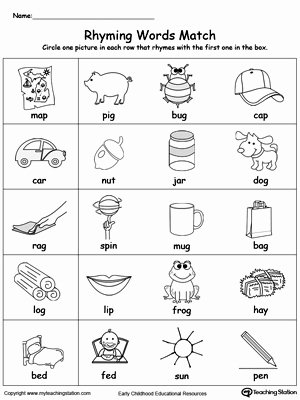 Free Printable Rhyming Worksheets for Preschoolers Lovely Rhyming Words Match