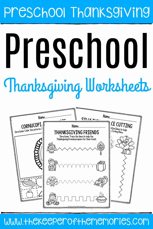 Free Printable Thanksgiving Worksheets for Preschoolers Fresh Printable Fine Motor Thanksgiving Preschool Worksheets