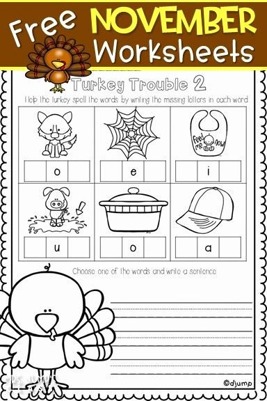 Free Printable Thanksgiving Worksheets for Preschoolers Ideas Free November Worksheets for Kindergarten First Grade