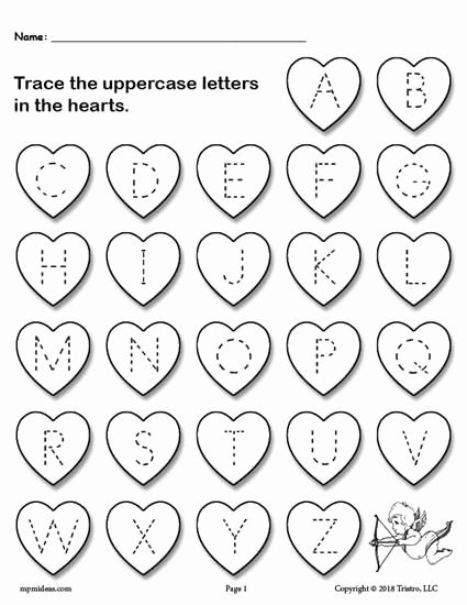 Free Printable Valentine Worksheets for Preschoolers Free Valentine S Day themed Uppercase Alphabet Tracing Worksheet
