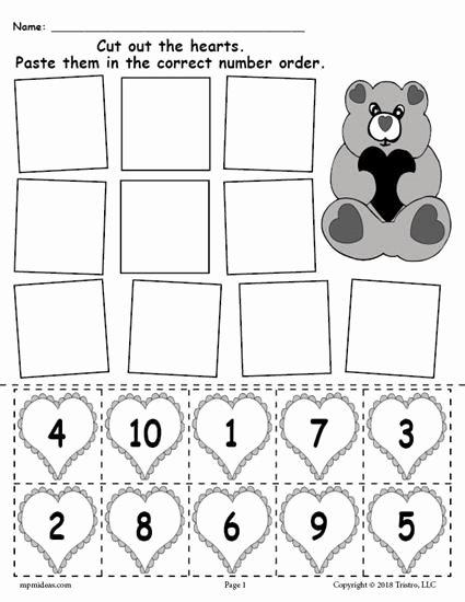 Free Printable Valentine Worksheets for Preschoolers Ideas Printable Valentine S Day Hearts Number ordering Worksheet