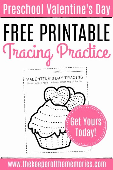 Free Printable Valentine Worksheets for Preschoolers Inspirational Free Printable Cupcake Tracing Valentine S Day Preschool