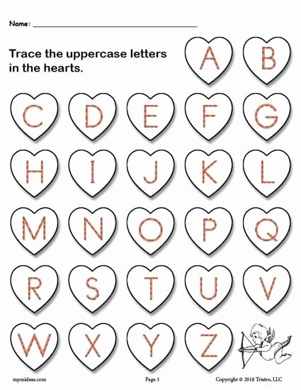 Free Printable Valentine Worksheets for Preschoolers top Valentine S Day themed Uppercase Alphabet Tracing Pleted