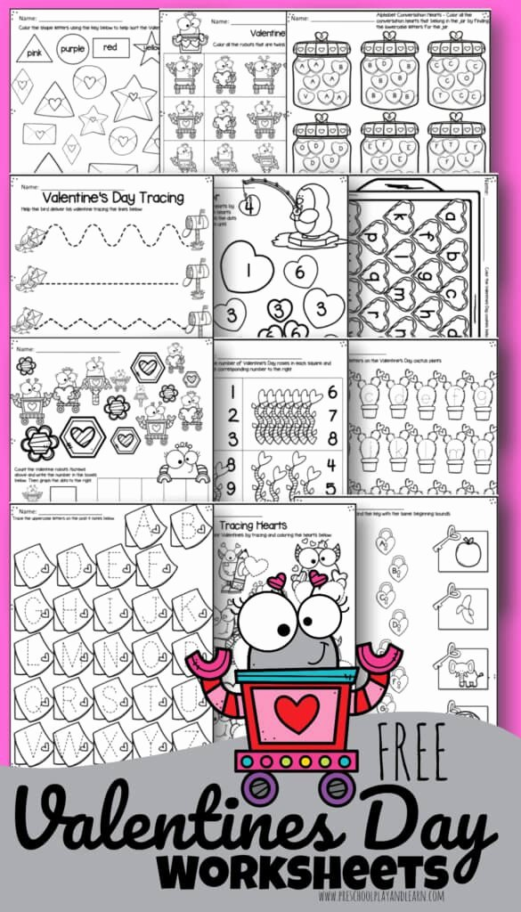 Free Printable Valentines Worksheets for Preschoolers Kids tons Of Free Valentines Day Worksheets