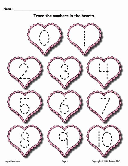 Free Printable Valentines Worksheets for Preschoolers Printable Printable Valentine S Day Number Tracing Worksheets 0 20