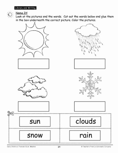 Free Printable Weather Worksheets for Preschoolers Free Name It