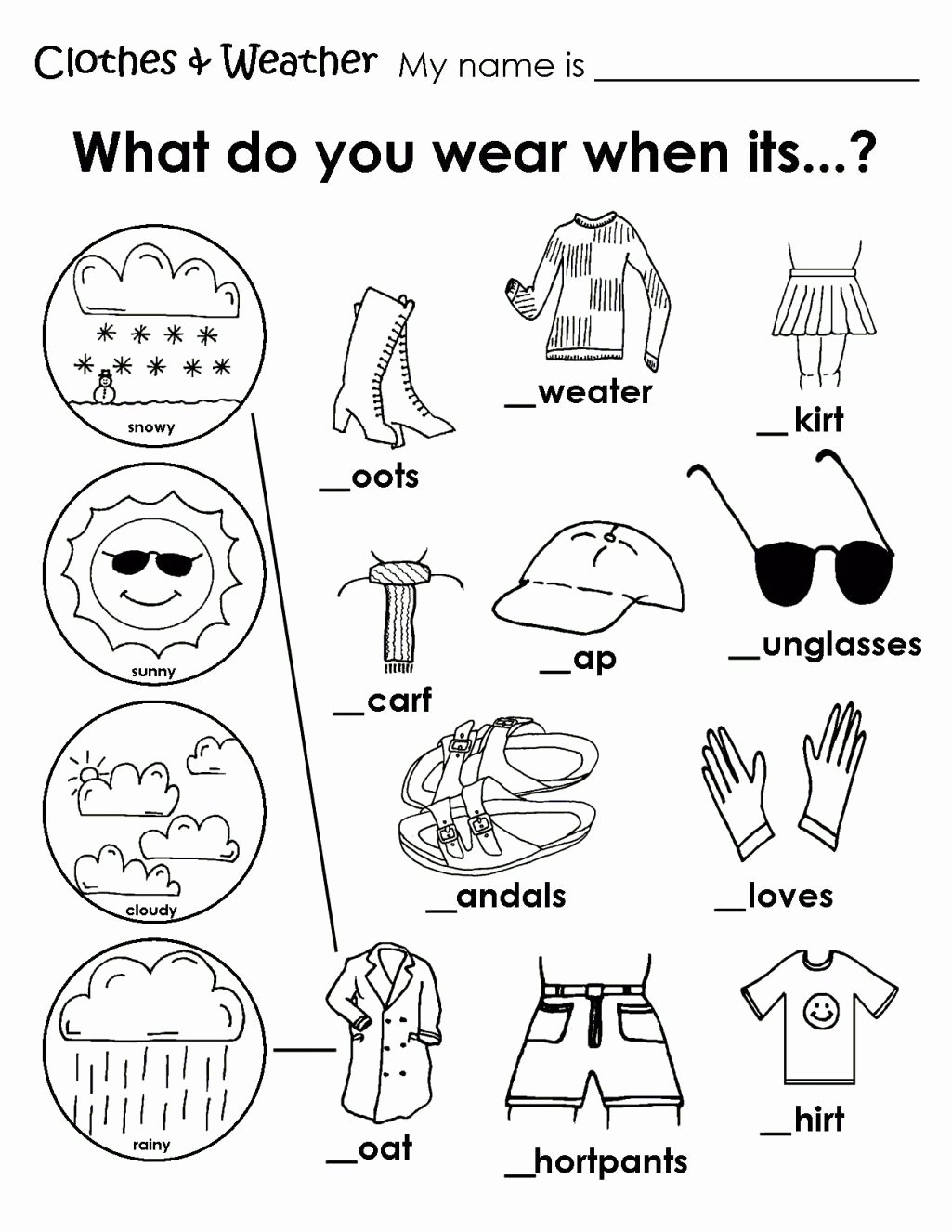 Free Printable Weather Worksheets for Preschoolers Inspirational Printable Weather Clothes Worksheet