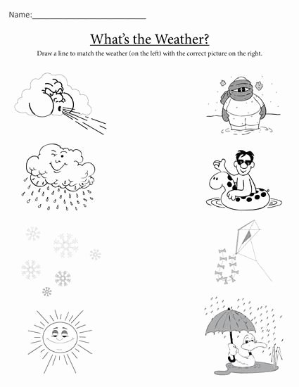 "Free Printable Weather Worksheets for Preschoolers Lovely What S the Weather "" Printable Matching Worksheet"