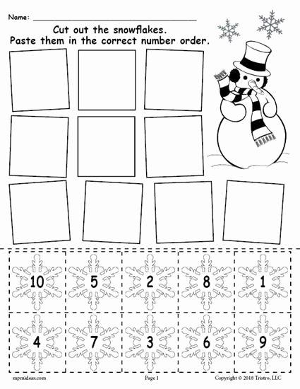 Free Printable Winter Worksheets for Preschoolers Free Printable Snowflake Number ordering Worksheet Numbers 1 10
