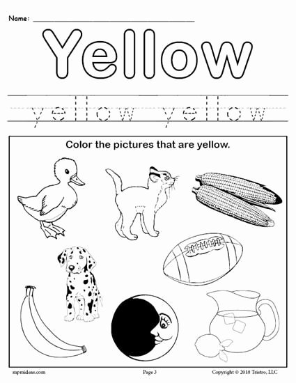 Free Printable Worksheets for Preschoolers About Colors New Color Yellow Worksheet