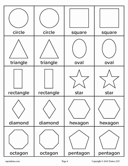 Free Printable Worksheets for Preschoolers Shapes top Printable Shapes Matching Memory Game