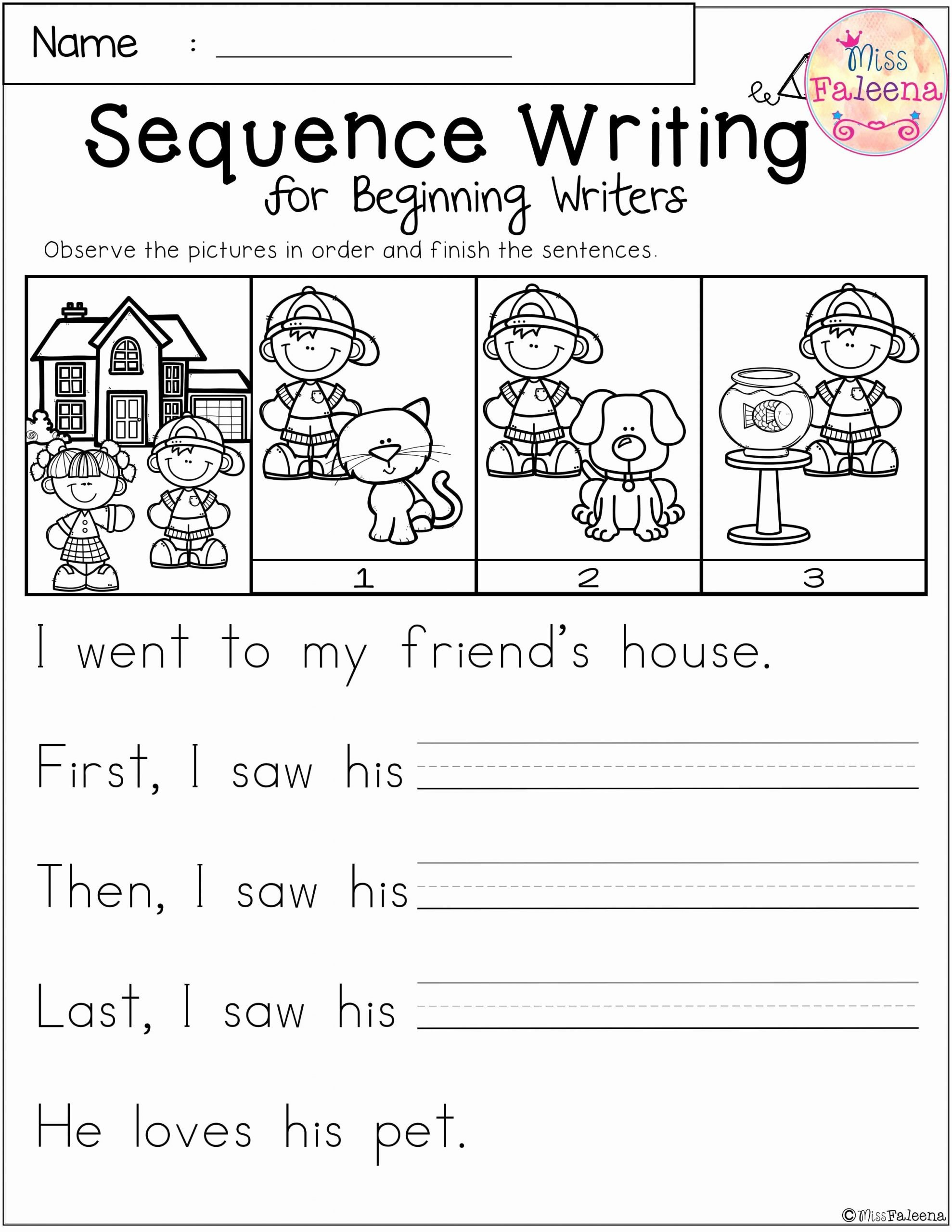 Free Sequencing Worksheets for Preschoolers New Free Sequence Writing for Beginning Writers