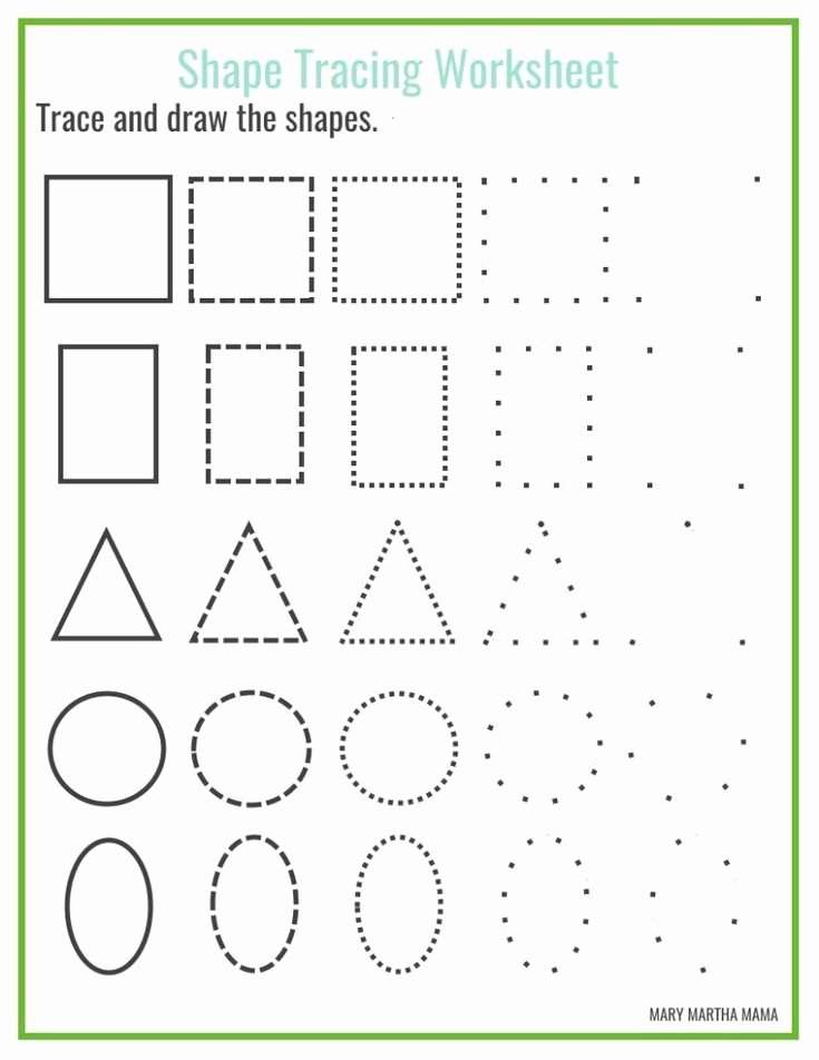 Free Shape Tracing Worksheets for Preschoolers Fresh Shapes Worksheets for Preschool [free Printables] In 2020