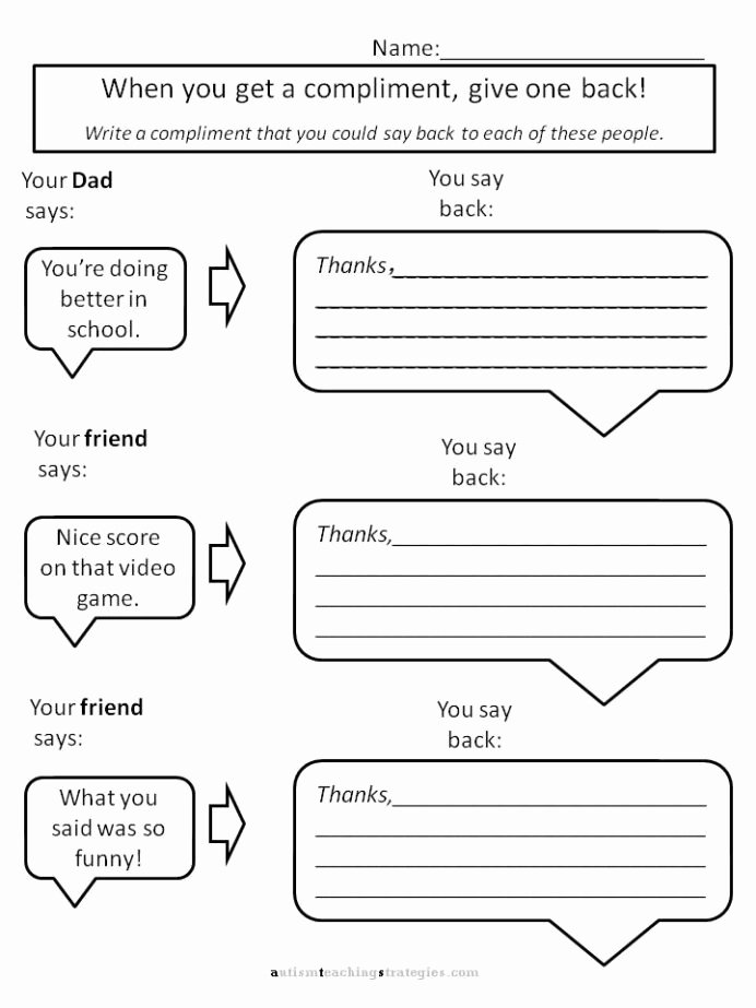 Free social Skills Worksheets for Preschoolers Ideas Helping Kids with asperger to Give Pliments Worksheets