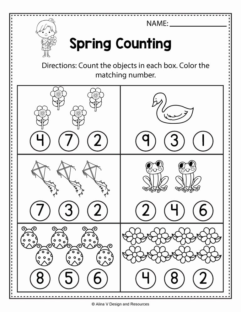 Free Spring Worksheets for Preschoolers Kids Free Spring Math Worksheets for Kindergarten No Prep 7th